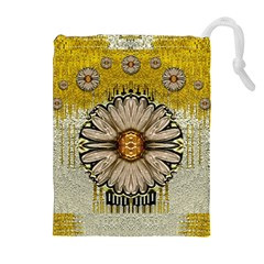 Power To The Big Flower Drawstring Pouches (Extra Large)
