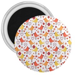 Animal Pattern Happy Birds Seamless Pattern 3  Magnets