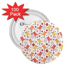 Animal Pattern Happy Birds Seamless Pattern 2 25  Buttons (100 Pack)
