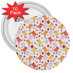 Animal Pattern Happy Birds Seamless Pattern 3  Buttons (10 Pack)
