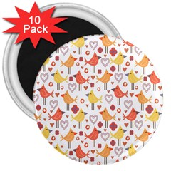 Animal Pattern Happy Birds Seamless Pattern 3  Magnets (10 Pack)