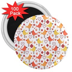 Animal Pattern Happy Birds Seamless Pattern 3  Magnets (100 pack)