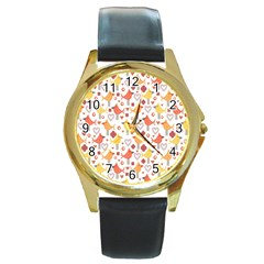Animal Pattern Happy Birds Seamless Pattern Round Gold Metal Watch