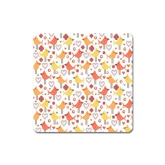 Animal Pattern Happy Birds Seamless Pattern Square Magnet
