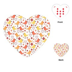 Animal Pattern Happy Birds Seamless Pattern Playing Cards (heart)