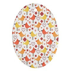 Animal Pattern Happy Birds Seamless Pattern Oval Ornament (two Sides)