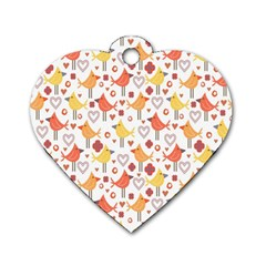 Animal Pattern Happy Birds Seamless Pattern Dog Tag Heart (Two Sides)