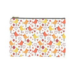 Animal Pattern Happy Birds Seamless Pattern Cosmetic Bag (large)
