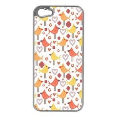 Animal Pattern Happy Birds Seamless Pattern Apple Iphone 5 Case (silver)