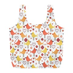 Animal Pattern Happy Birds Seamless Pattern Full Print Recycle Bags (L)