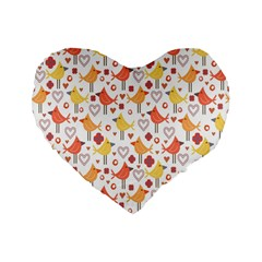 Animal Pattern Happy Birds Seamless Pattern Standard 16  Premium Flano Heart Shape Cushions