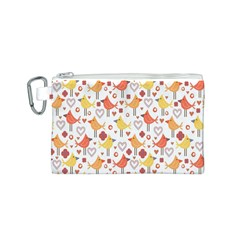 Animal Pattern Happy Birds Seamless Pattern Canvas Cosmetic Bag (s)