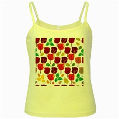 Tree Pattern Background Yellow Spaghetti Tank