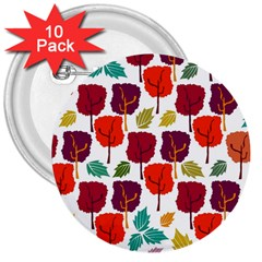 Tree Pattern Background 3  Buttons (10 Pack)