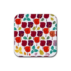 Tree Pattern Background Rubber Square Coaster (4 Pack)