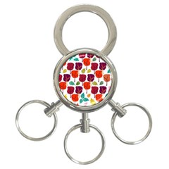 Tree Pattern Background 3 Ring Key Chains