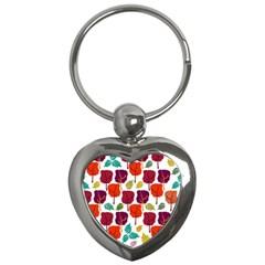 Tree Pattern Background Key Chains (Heart)