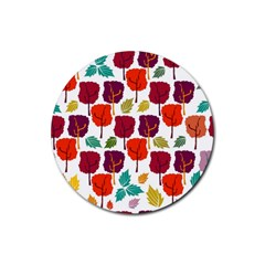 Tree Pattern Background Rubber Coaster (round)