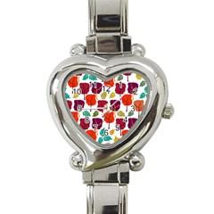 Tree Pattern Background Heart Italian Charm Watch