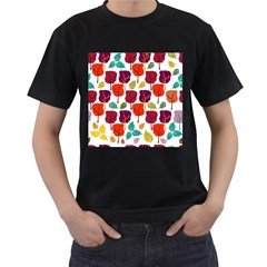 Tree Pattern Background Men s T-Shirt (Black) (Two Sided)