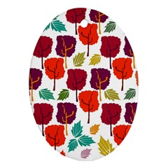 Tree Pattern Background Oval Ornament (two Sides)
