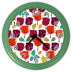 Tree Pattern Background Color Wall Clocks