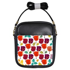 Tree Pattern Background Girls Sling Bags
