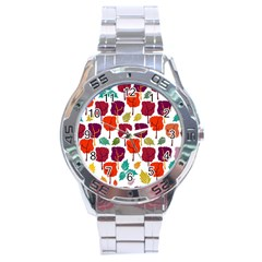 Tree Pattern Background Stainless Steel Analogue Watch