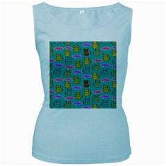 Meow Cat Pattern Women s Baby Blue Tank Top