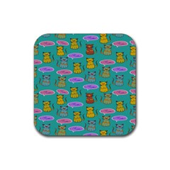 Meow Cat Pattern Rubber Square Coaster (4 Pack)