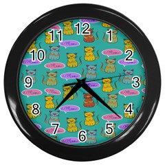 Meow Cat Pattern Wall Clocks (black)