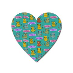 Meow Cat Pattern Heart Magnet
