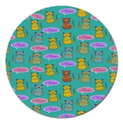 Meow Cat Pattern Magnet 5  (round)