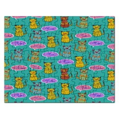 Meow Cat Pattern Rectangular Jigsaw Puzzl