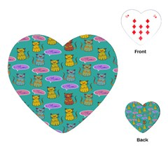 Meow Cat Pattern Playing Cards (heart)