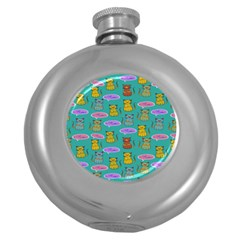 Meow Cat Pattern Round Hip Flask (5 oz)