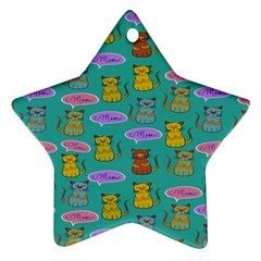 Meow Cat Pattern Star Ornament (two Sides)