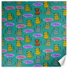 Meow Cat Pattern Canvas 16  x 16