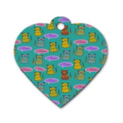 Meow Cat Pattern Dog Tag Heart (two Sides)