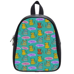 Meow Cat Pattern School Bags (small)
