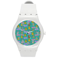 Meow Cat Pattern Round Plastic Sport Watch (m)