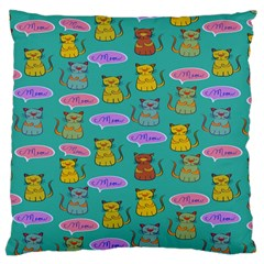 Meow Cat Pattern Large Cushion Case (One Side)