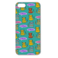 Meow Cat Pattern Apple Seamless Iphone 5 Case (clear)