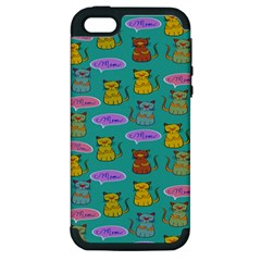 Meow Cat Pattern Apple iPhone 5 Hardshell Case (PC+Silicone)