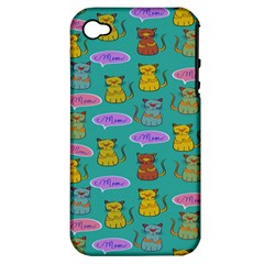 Meow Cat Pattern Apple Iphone 4/4s Hardshell Case (pc+silicone)