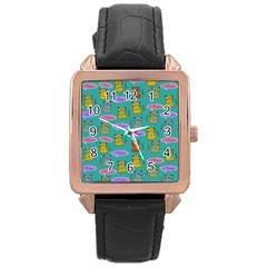 Meow Cat Pattern Rose Gold Leather Watch