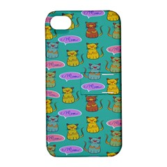 Meow Cat Pattern Apple Iphone 4/4s Hardshell Case With Stand
