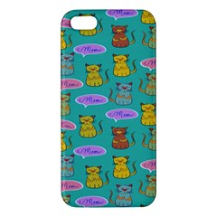 Meow Cat Pattern Apple Iphone 5 Premium Hardshell Case