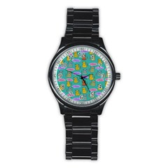 Meow Cat Pattern Stainless Steel Round Watch