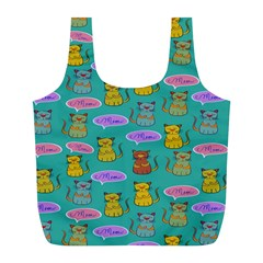 Meow Cat Pattern Full Print Recycle Bags (L)